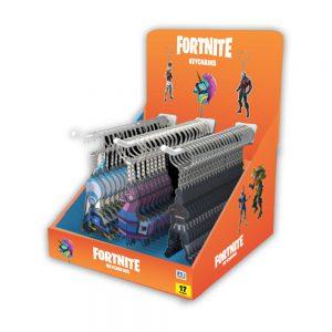 Fortnite 2D Keychains 72pcs CDU with 3 hooks