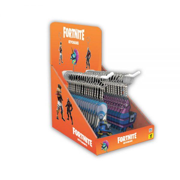 Fortnite 2D Keychains 48pcs CDU with 2 hooks