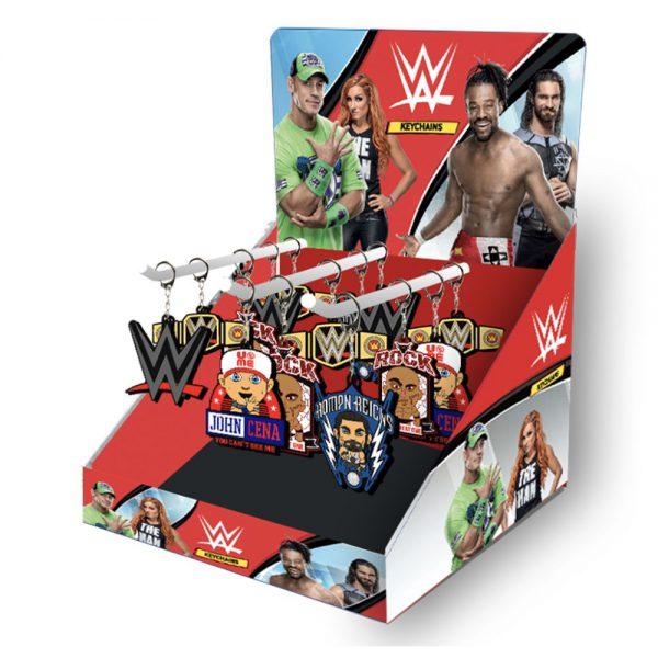 WWE 2D Keychains 72pcs CDU with 3 hooks