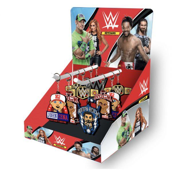 WWE 2D Keychains 48pcs CDU with 2 hooks
